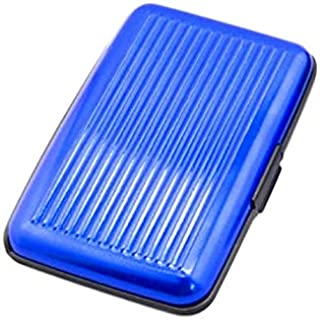 Credit Card Holder Aluminium with RFID Protection 11.5 x 7.2 x 2 cm Wallet Business Card Holder Blue Men's Credit Card Cas...