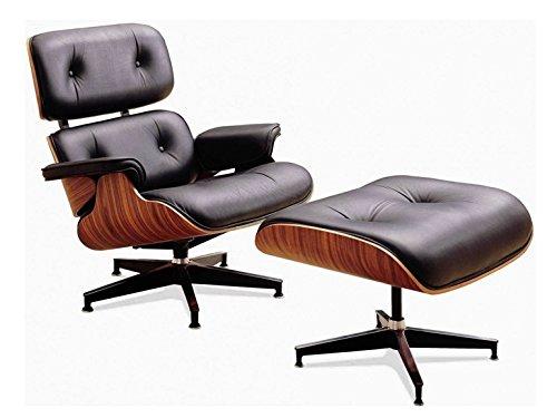 Sillón Charles Eames con reposapiés piel auténtica negro