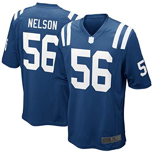 WOPOO Camisetas al aire libre del rugby del fútbol americano de Quenton Indianapolis NO.56 Azul, Jersey del juego de Nelson Colts para los hombres