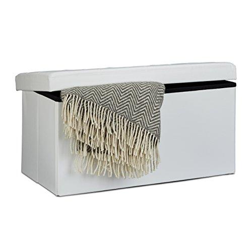 Relaxdays Faltbare Sitzbank 38 x 78 x 38 cm HxBxT, 2-Sitzer m. Stauraum, Kunstleder Sitzhocker 300 kg belastbar, weiß