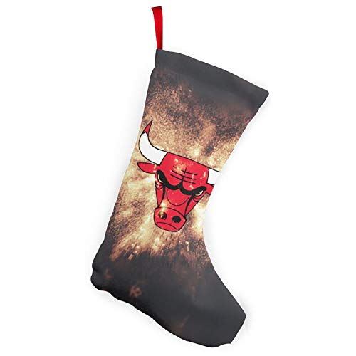 REECECAM Chicago Basketball Bulls Christmas Stockings In 2 Packs, Suitable For Family 10-Inch Brushed Fabric Decorations, Used For Fireplace Holiday Parties