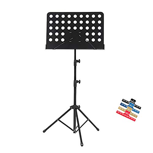 YNES Lightweight and Portable Metal Music Stand, Height Adjustable(60-138cm)/Adjustable panel angle 90 °of Music Holder, for Instrumental Performance (Color : Black, Size : A)