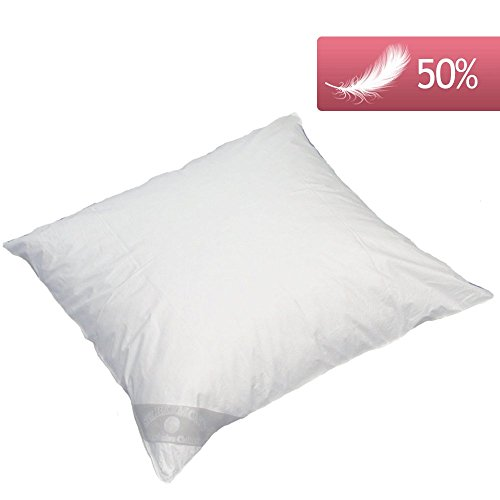 Luxusfeder Kissen Kopfkissen Daunenkissen 80x80 cm 800g 50% Daunen 50% Federn, herrlich weich, deutsches Qualitätsprodukt