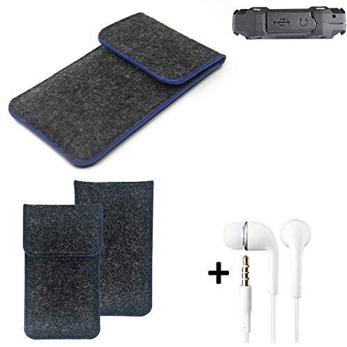 K-S-Trade® Filz Schutz Hülle Für Simvalley Mobile SPT-210 Schutzhülle Filztasche Pouch Tasche Handyhülle Filzhülle Dunkelgrau, Blauer Rand Rand + Kopfhörer