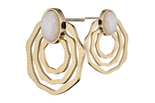 Ikita Cabochon Pierced Earrings, Gold Metallic, Agate