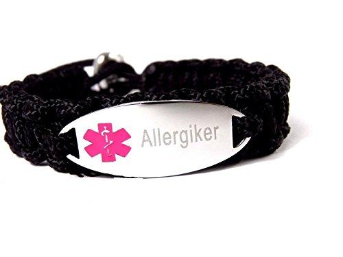 HanseCharms Medizinisches Notfallarmband Paracord Typ II, Armband Laser Graviert z.B.: Asthma, Histamin, Diabetes; Verstellbar, Rosa Logo (Allergiker, L = 19-24 cm)