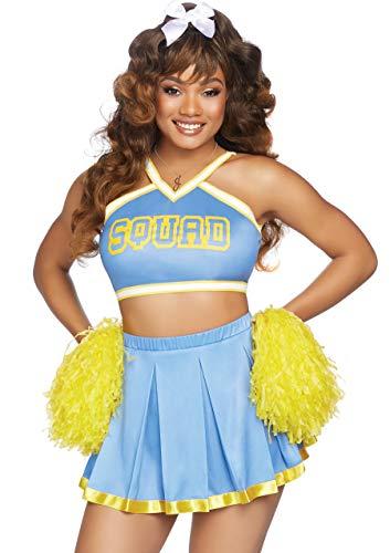 Leg Avenue Cheer Squad Cutie Costumi per Adulti, Blu Giallo, M/L (EUR 42-44) Donna