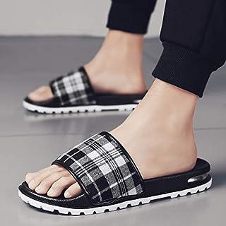 Summer Slides Men Slippers Grid Home Bathroom Slippers Outdoor Sandals Beach Flip Flops Sports Shoes Leisure Men's Shoes (Color : Black 2302, Shoe Size : 43)