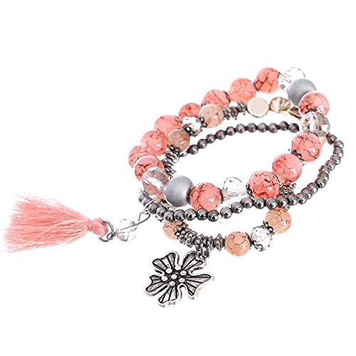 Bracelet en parels D'Alliage Pour Femme, multi-layer parels armband roze bohemian armband bergkristal edelsteen parels legering bloem kwast hanger elastische armband vrouwelijk sieraad personaliseerbaar