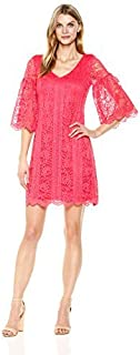 Julian Taylor womens All Over Lace A-line V-neck Dress Dress