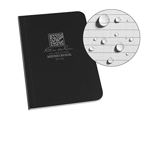 J.L. Darling Rite in The Rain Weatherproof Soft Cover Pocket Notebook, 3 1/2' x 5', Black Cover,...