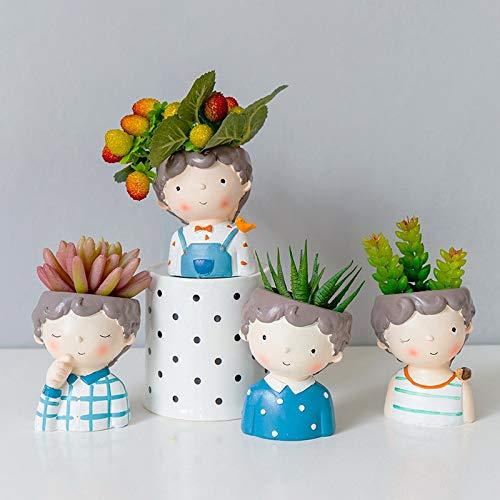 KGCA Little Boys Planters Set - 4 Pcs Creative Succulent Plants Flower Pots Desktop Vases Mini Bonsai Home Garden Decoration Gifts
