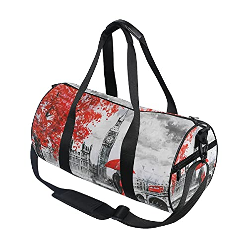 Pintura al óleo Big Ben London Art Travel Duffel Bag Sport Gym Bolsa de equipaje para hombres y mujeres