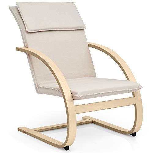 COSTWAY Relaxsessel Holz, Relaxstuhl inkl. abnehmbare Kissen, Lounge Stuhl bis 150kg belastbar, Entspannungsstuhl Fernsehsessel Liegestuhl für Wohnzimmer, Schlafzimmer, Balkon (Beige)