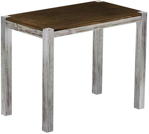 Brasil Furniture Rio Kanto 140x80 cm Shabby plaat eiken bartafel houten tafel massief houten statafel bistrotafel vlechten bar thektafel echt hout grootte en kleur naar keuze