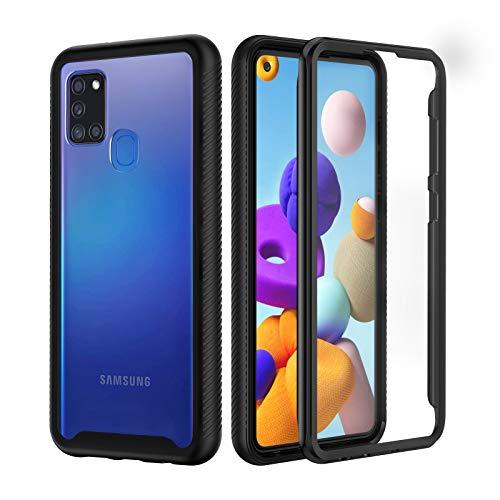seacosmo Samsung A21s Hülle, Stoßfest Cover A21s 360 Grad vollschutz Handyhülle Rugged Schutzhülle A21s mit eingebautem Displayschutz, Schwarz