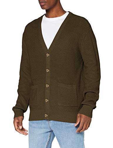 Urban Classics Herren Boxy Cardigan Sweatshirts, Olive, S
