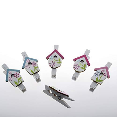 Houten klemmen met vogelhuisje - wit en roze - 5 cm - 6 stuks - 91095