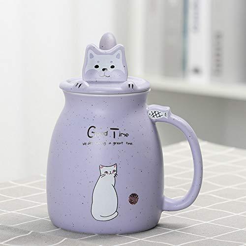 CXL Taza de Agua de Marca de cerámica, Taza de Gato súper Linda, Taza de café con Cuchara, Taza de Leche para Desayuno, Gran Capacidad