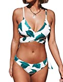 CUPSHE Women's Fresh Leaves Printing Cross Padding Bikini Set (M)