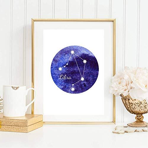Din A4 Kunstdruck ungerahmt Sternzeichen Horoskop Waage Libra Astrologie Sterne Sternhimmel Sternbild Druck Poster Deko Bild