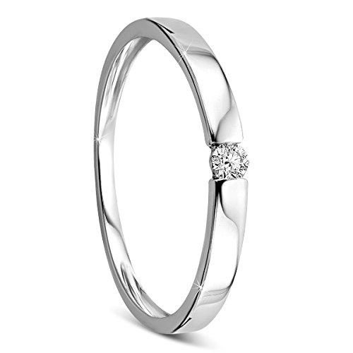 Orovi Damen Verlobungsring Gold Solitärring Diamantring 14 Karat (585) Brillanten 0.05crt Weißgold Ring mit Diamanten