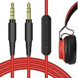 Geekria QuickFit Cable estéreo de 3,5 mm para auriculares Jabra Move Style Edition, REVO, Elite 85h, Philips SHP9500, X2HR, Cable de de repuesto con micrófono y control de volumen (rojo 5,6 pies)