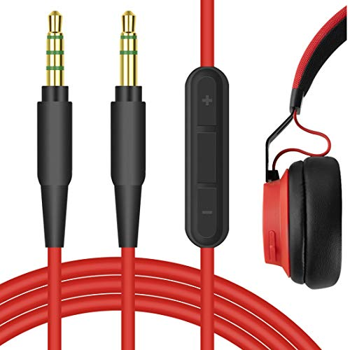 Geekria QuickFit 3.5mm Stereo Cord with Mic Compatible with Jabra Move, REVO, Elite 85h, Philips SHP9500, X2HR Headphones, Replacement Audio Cable with Microphone and Volume Control (Red 5.6FT)