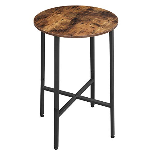 VASAGLE ALINRU Bar Table, Dining Table, Hight Pub Table, Computer Desk, Steel Frame, Easy Assembly, for Living Room or Kitchen, Industrial, 23.6 x 23.6 x 35.4 Inches, Rustic Brown and Black ULBT60X