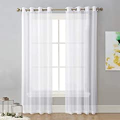 "READY MADE: 2 panels sheer curtains per package. Each panel is 54"" wide and 96"" long when hanging as a flat. One of the grommets' inner diameter is 1.6"". Purchase curtain whose width is 1.5-2 times wider than your window will form a nice look. MULTIF..."