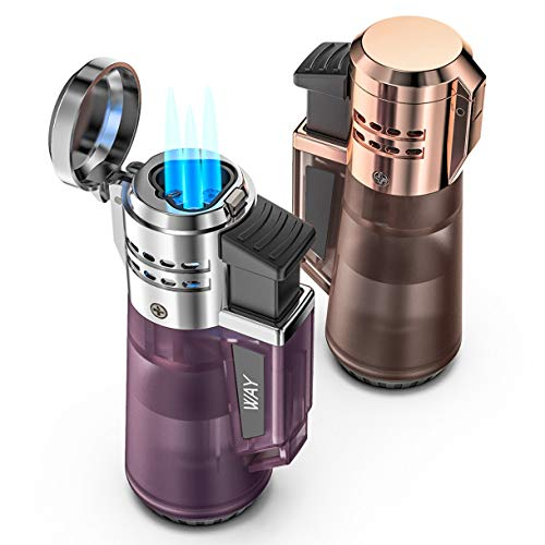 VVAY 2 Stück, Sturmfeuerzeug 3 Jetflamme, Gasfeuerzeug Jetflame, Jet Feuerzeug Gas Butane Nachfüllbar (Verkauft ohne Gas)