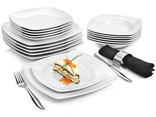 Sänger Tafelservice \'Markant\' aus Porzellan 18 teilig | Geschirrset beinhaltet Speise-, Suppen- und Dessertteller | Elegantes Geschirrservice für bis zu 6 Personen