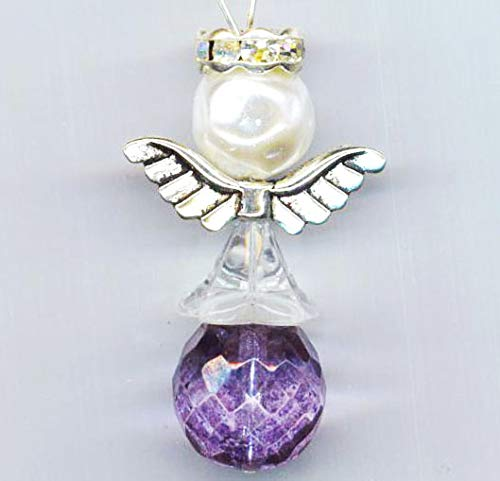 Guardian Angel Pendant Purple Skirt Easter Holidays Communion Silver Plated Wings White faux Pearl