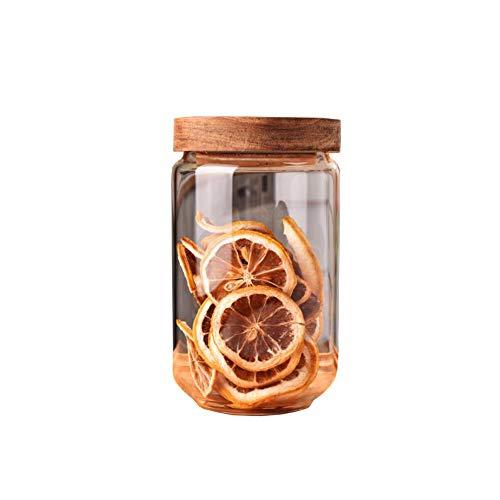 Tarro de cristal de almacenamiento de alimentos de 750 ml con tapa hermética de madera de acacia contenedor de almacenamiento de alimentos para café en grano té especias galletas tarro de caramelo