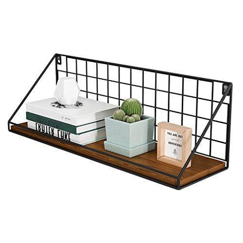 WWZWJ Zwevende plank bevestigd aan de muur, smeedijzeren frame + plank, bespaart ruimte, ideaal voor woonkamer/slaapkamer/keuken/toilet, zwarte industriële Kazekabe-gemonteerde plank
