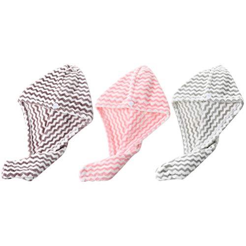 Set van 3 haardrogerhanddoeken, turban, microvezel, sneldrogend, douchekop, wrap voor vrouwen en meisjes, lang krullend haar roze+grey+koffie