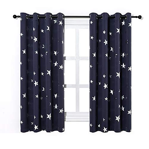 Anjee Navy Blue Star Print Blackout Curtains for Kids Room (2 Panels 2 Curtain Tiebacks), Thick Thermal Insulated Window Drapes, W52 x L63 in
