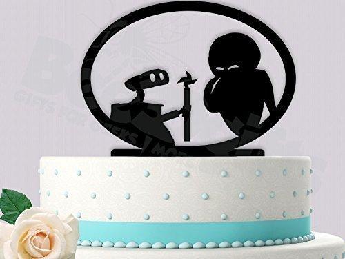 Wall-E and Eve Handing the flower Inspired Wedding Cake Topper