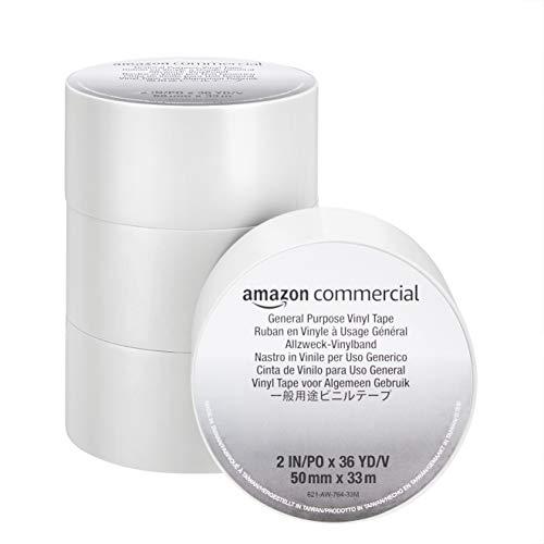 Amazon Commercial PVC Klebeband – Stark Klebend, 0.13 mm x 50 mm x 33 m, Weiß, 4 Rollen