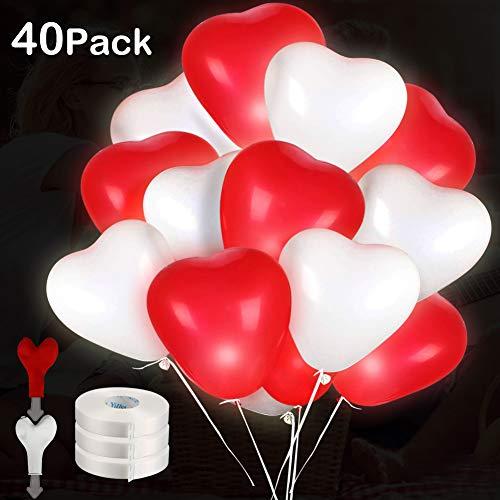 LED Herz Luftballons, 40 Stücke Led Leuchtende Luftballons Rot und Weiß ,Premium Led Ballons Hochzeit für Hochzeit Valentinstag Weihnachten Geburtstag Party Deko