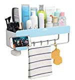 Adhesive Bathroom Shelf Storage Organizer Wall Mount No Drilling Shower Shelf Kitchen Storage Basket Rack Shelves Shower Caddy (Blue)