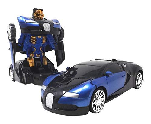 Dreamtoys Transfom Supercar Transformer Auto Superportwagen blau Modellauto 1:24-Fährt selbstständig mit automatischer Verwandlung zum Roboter eingebauten hell leuchtende Led Lichter und Musik