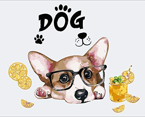 DIY-schilderij om zelf te maken, olieverfschilderij, thuisdecoratie, schilderij op canvas, 40 x 50 cm, limonade voor honden met bril Omlijst