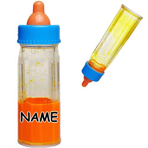 alles-meine.de GmbH 2 Stück _ magische Flaschen - Puppenflaschen mit Saft & Flüssigkeit / Babyflasche - inkl. Name - Saftfläschchen Babypuppenzubehör - UNIVERSAL Größe - Puppe / ..