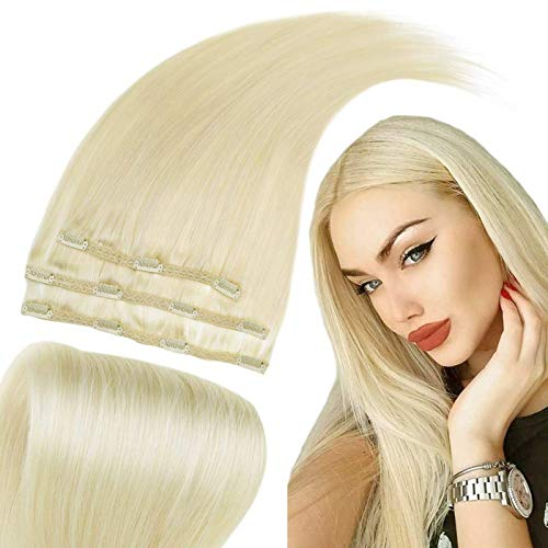 RUNATURE Clip En Extensiones De Cabello Cabello Humano Color 60 Rubia Platino 12 Pulgadas 50g 3Pcs Clip in Hair Extensions