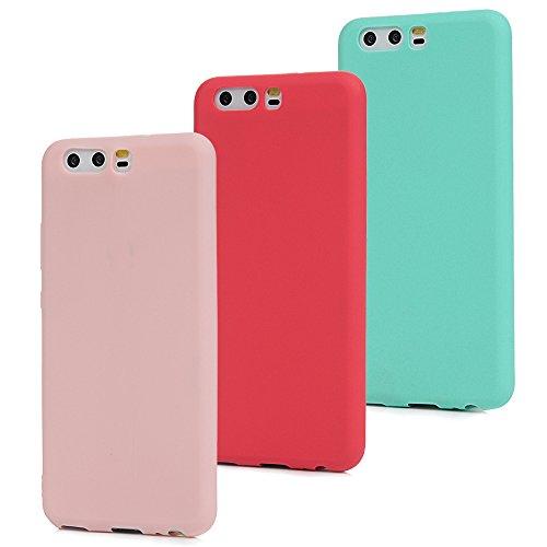 MAXFE.CO 3X Cover Huawei P10 (Non per Huawei P10 Plus) Custodia Morbida Silicone TPU Flessibile Gomma Case Ultra Sottile Cassa Protettiva per Huawei P10 - Rosso + Rosa + Menta Verde