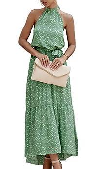 PRETTYGARDEN Women's Casual Halter Neck Sleeveless Floral Long Maxi Dress Backless Loose Ruffle Sundress with Belt Green
