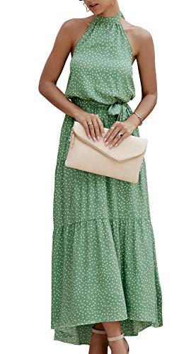 PRETTYGARDEN Women's Casual Halter Neck Sleeveless Floral Long Maxi Dress Backless Loose Ruffle Sundress with Belt (Green, Medium)