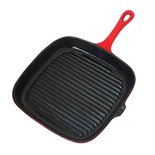 ShiSyan 24cm Steak Frying Pan, Flat Bottom Physical Non-stick Pan, Household Iron Pan