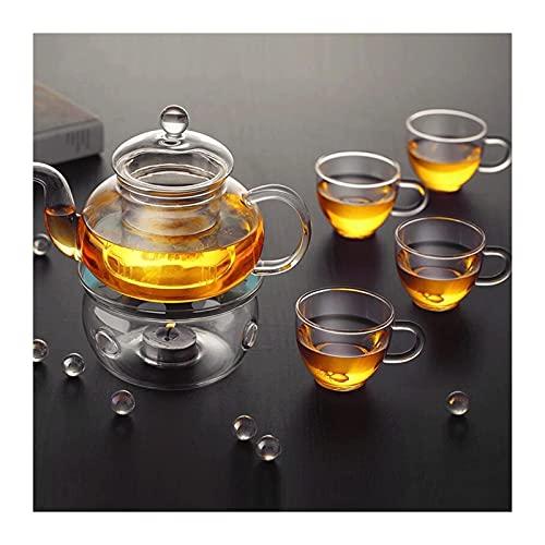 QIXIAOCYB Juego de tetera de cristal resistente al calor Kung Fu Tea Set Filtro transparente de té Pot 600 ml